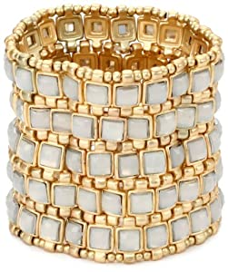 "RAIN ""5 Row"" Gold and White Stretch Cuff Bracelet"