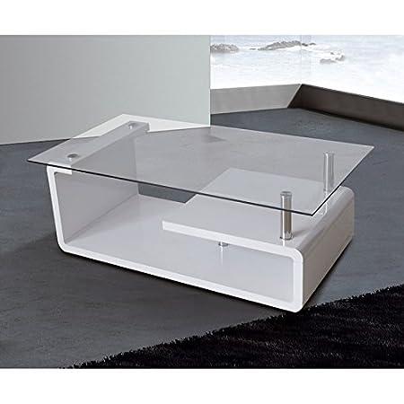 HomeSouth - Mesa de centro, cristal templado transparente, patas color Blancas