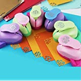 Fascola Pack of 6 Embossing DIY Corner Paper Printing Card Cutter Scrapbook Shaper large Embossing device Hole Punch Kids Handmade Craft gift YH01,Random design and color (Color: Castle)