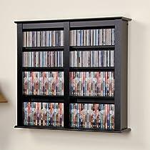Prepac Black Medium Capacity Hanging Wall Media (DVD,CD,Games) Storage