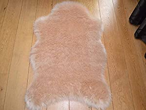 Natural Faux Fur Sheepskin Style Rug (70cm x 100cm) by Rugs Supermarket