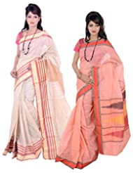 Banarasi Silk Works Dazzling Off White And Peach Super Net Cotton Embroidered Combo Saree