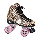 Moxi Ivy Jungle Outdoor Roller Skates - Tan Leopard Print with Moxi Juicy Pink Frost Wheels by Moxi Skates