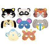 #6: Rrimin 10PCS Assorted EVA Foam Animal Masks for Kids Birthday Party(Color Random )