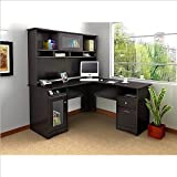 Bush Furniture Cabot L-Shape Computer Desk with Hutch in Espresso Oak