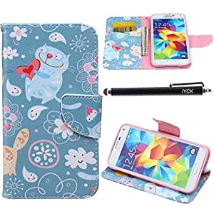 S5 Case, Galaxy S5 Case, iYCK Premium PU Leather Flip Folio Carrying Magnetic Closure Protective Shell Wallet Case Cover for Samsung Galaxy S5 with Kickstand Stand - Cartoon Fat Cat