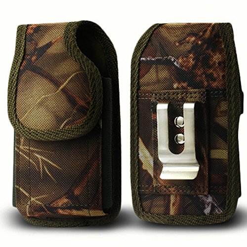 LG G Flex Belt Clip Holster, Kuteck LG G Flex D959 / D950 / LS995 Premium Canvas Nylon Heavy Duty Pouch Carrying Case with Stainless Belt Clip / Vertical and Horizontal Belt Loops (Velcro Flap Closure Perfect Fits with Thick Cases: OtterBox, LifeProof, Battery Pack and ETC.) w/Stylus Touch Pen (Camo Tree)