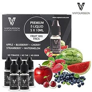 VAPOURSSON 5 X 10ml E Liquid gemischte Früchte   Apfel   Blaubeere   Kirsche   Erdbeere   Wassermelone   Neue Formel für ein Extra starken Geschmack mit nur hochwertige Zutaten   Hergestellt für elektronische Zigaretten und E Shisha