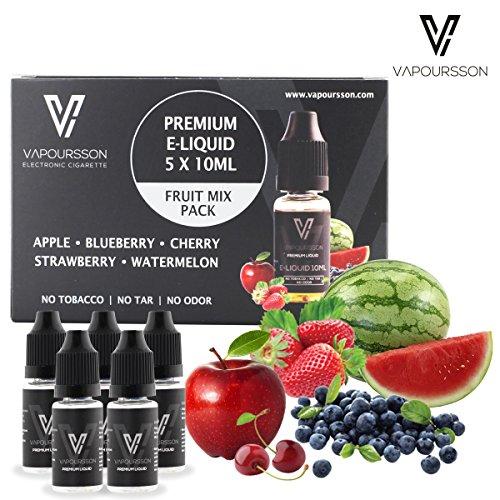 VAPOURSSON-5-X-10ml-E-Liquid-gemischte-Frchte-Apfel-Blaubeere-Kirsche-Erdbeere-Wassermelone-Neue-Formel-fr-ein-Extra-starken-Geschmack-mit-nur-hochwertige-Zutaten-Hergestellt-fr-elektronische-Zigarett