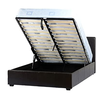 Seconique Prado Plus Brown Storage Faux Leather Double Bed Frame