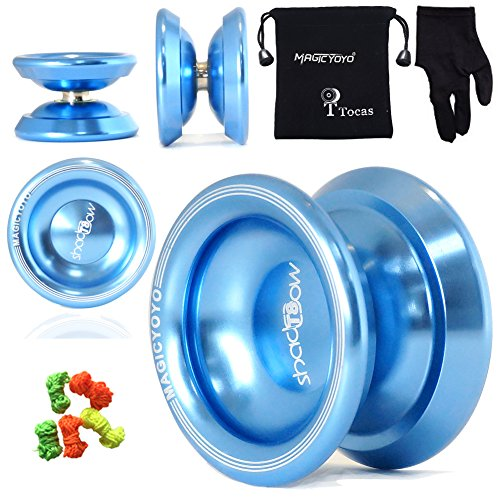 Magic YoYo Original T8 Shadow Yo-Yo Ball with Glove & 5 String & Storage Bag , Professional for Kids Gifts, Aluminum, Blue
