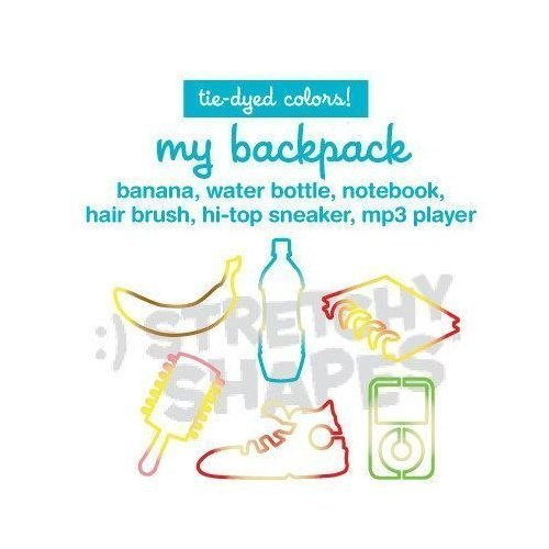 Stretchy Shapes Silly Bands, Animal Bands 24 Band Pack, My Backpack, Banana, Water Bottle, Notebook, Hair Brush, Hi-top Sneaker, iPod mp3 Player, Tie-dyed Colors