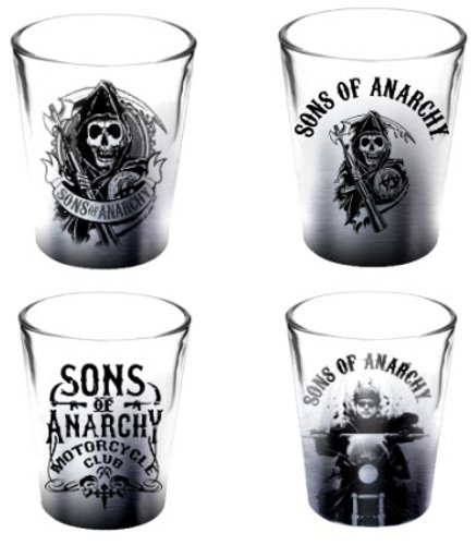 Sons of Anarchy Silver Fade Set of 4 Collectible Shot Glasses