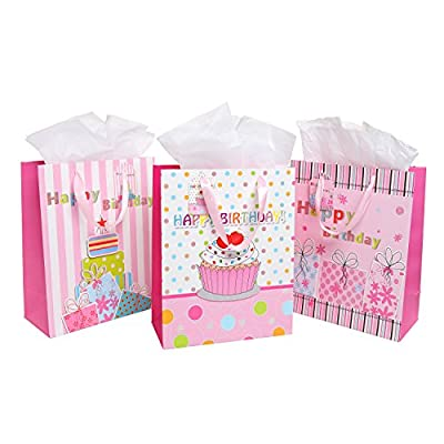 Girls' / Women's Happy Birthday Gift Bags and Tissues - Pink - Assorted Set of 3 Bags