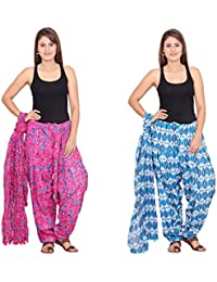 Rama Set Of 2 Printed Pink & Blue Colour Full Patiala With Dupatta Set