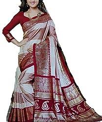 360 Degree Bhagalpuri Women's Silk Sarees(360 Degree 03_Red_FreeSize)