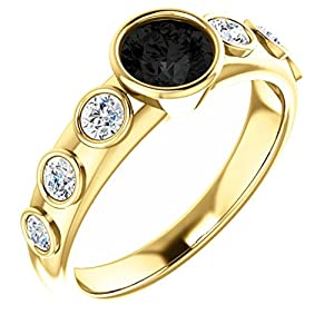 14K Yellow Gold Round Cut Black Diamond Engagement Ring - 1.1 Ct.
