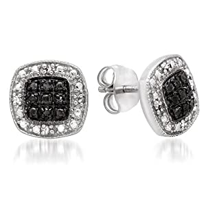 1/10ct Square Shape Black and White Diamond Stud Earrings Set in Sterling Silver by Amanda Rose Collection