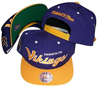 Minnesota Vikings Script Purple Yellow Two Tone Snapback Adjustable Plastic Snap Back... by Mitchell & Ness