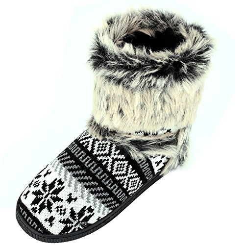 Womens Winter Warm Indoor Outdoor Slipper Mid Calf Boot Slippers Snow Bootie