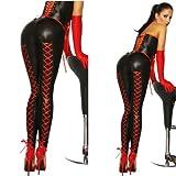 Leggings in Leder Optik mit Schnürung, Wetlook, glänzend, schwarz, rot, Gr. M