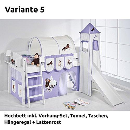 Hochbett Spielbett IDA Pferde Lila Beige, mit Turm, Rutsche und Vorhang, weiß, Variante 5