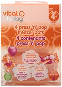 Vital Baby Press 'n' Pop Freezer Pots, Orange, 3 Ounce, 4 Pack