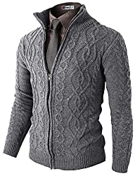 H2H Mens Casual Knitted Twisted Patterned Zip-up Cardigan GRAY US S/Asia M (KMOCAL096)