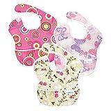 Bumkins Waterproof SuperBib 3 Pack, Girl (G6-Pink Fizz/Butterfly/Flutter Floral)