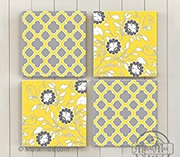 MuralMax - Abstract Flower Vines - Stretched Canvas Wall Art - Memorable Anniversary Gifts - Unique Wall Decor - Color - Yellow - 30-DAY - Set Of 4 - - Size - 10 x 10