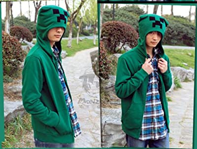Creeper Hoodie Minecraft Monster Rave 3d Creeper Cosplay Costume Hoodie Jacket Size M from skycostume