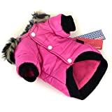 PanDaDa Pet Faux Pockets Coat Fur Trimmed Dog Puppy Hoodie Jacket Costume Rose XS