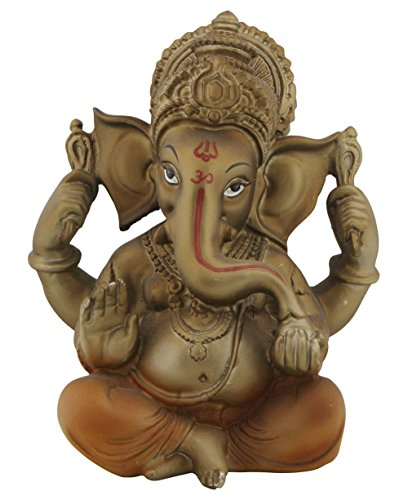 Auspicious Ganesh Statue in Bronze and Rust Finish