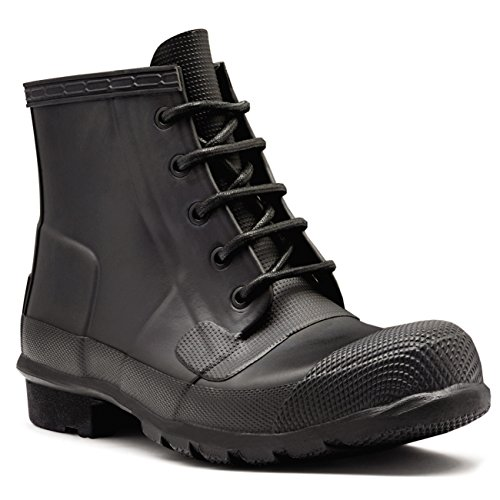 Womens Hunter Original Lace Up Rubber Snow Winter Ankle Boots Wellies - Black - 7 - 38