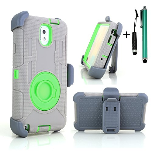Ultra Shock&Drop-Proof Army-Grade Protective Case And Holster For Samsung Galaxy Note 3 Iii - Extremly Protective Dual Layer Case With 360 Degrees Swivel Ring Kickstand And Rugged Face-In And Out Holster With One Headphone Jack Stylus And One Stylus Pen (