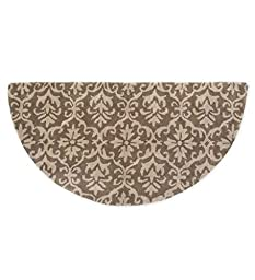 Filigree Wool Hearth Rug, 2\' x 4\' Half Round, in Taupe