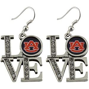 NCAA Auburn Tigers Ladies Rhinestone Love Dangle Earrings by Football Fanatics