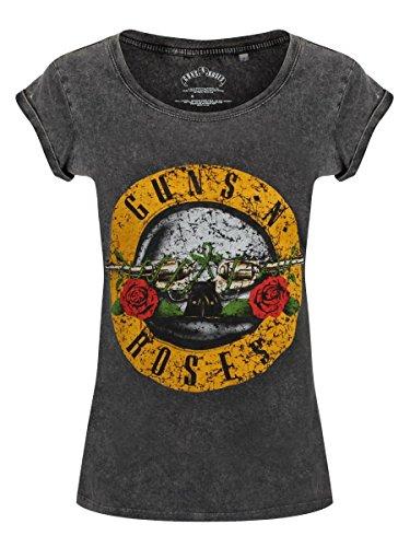 T-shirt Guns N' Roses Logo GNR acid wash da donna in nero