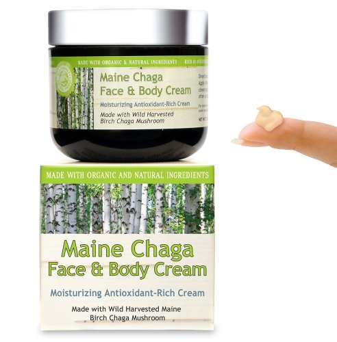 Maine Chaga Face & Body Cream, Large 4 Oz Value Size, Organic & Natural Ingredients, Lightweight For The Face Yet Moisturizing For The Whole Body
