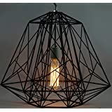 THE BLACK STEEL GEOMETRIC IRON BLACK 60W, INDUSTRIAL PENDANT CAGE
