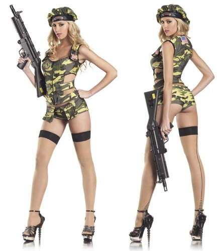 Be Wicked Army Brat Costume, Green/Brown/Black, Small/Medium