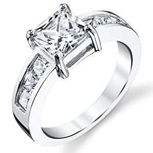 1.25 Carat Princess Cut Sterling Silver Cubic Zirconia Engagement Ring Band Sizes 5 to 9