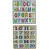 Wooden Alphabet And Number Puzzle Picture Board With Knobs - (1c284) - Learning Educational Math Toys For Kids...