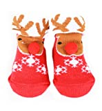 Very Cute Baby Girls Boys Christmas Designs Socks in Organza Gift Bag - Size 0-6 Months - Reindeer