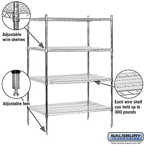salsbury industries stationary wire shelving unit 36 inch. Black Bedroom Furniture Sets. Home Design Ideas