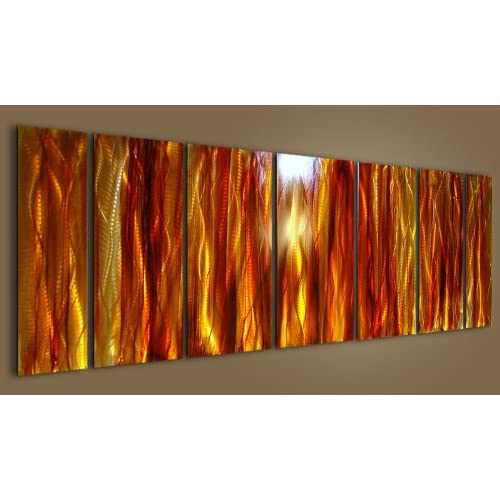 Radiant Modern Red Gold Orange and Yellow hand-painted metal wall art - Amber Reeds by Jon Allen