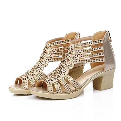 sandali in pelle con strass estate/sandali tacco medio per aiutare a basso cava-A Lunghezza piede=22.3CM(8.8Inch)