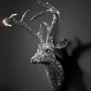 Large Sparkly Diamante Resin Stag Deer Head Wall Trophy with Antlers       review and more information