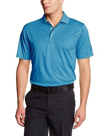PGA TOUR Men's Short Sleeve Mini Birdseye Jacquard Performance Polo, Electric Blue Lemonade, Medium