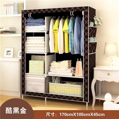 Pecho de tela, dormitorio doble, armario ropero, armario a prueba de polvo, negrita, tubos de acero inoxidable, W170*D105*H45cm,elegante negro
